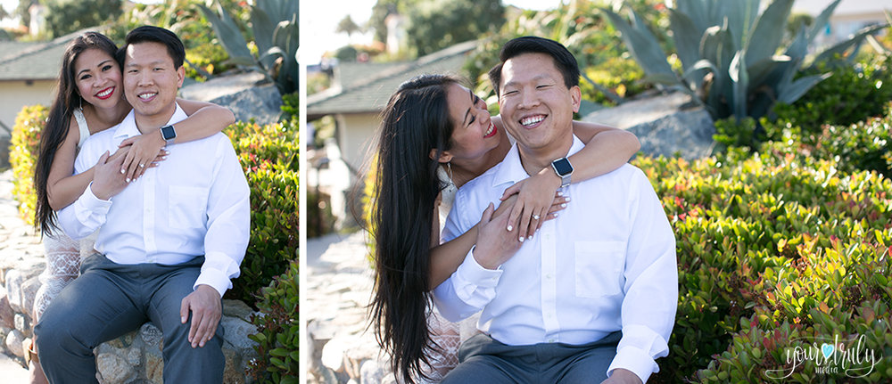 Engagement photography - Laguna Beach, CA - Engaged couple hugging and laughing together.