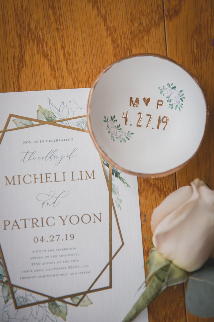 Unforgettable Save the Date Ideas - Wedding invitation set with card, tea plate, and a single rose