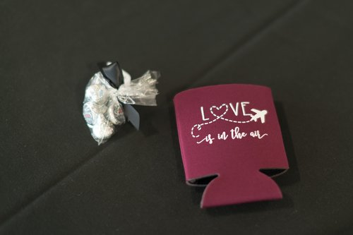 Aviation themed wedding favors.