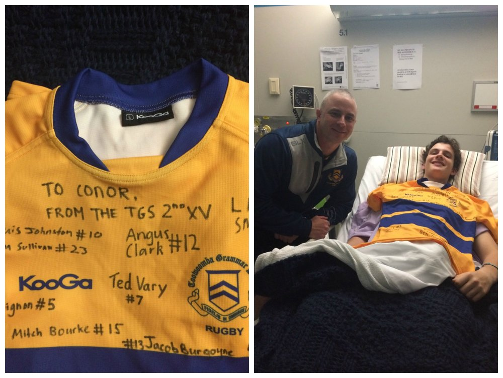 Jonno from Toowoomba Grammar dropped in to present Conor with a jersey signed by the Toowoomba Grammar Second IV.  Conor wishes them good luck for the rest of the season.