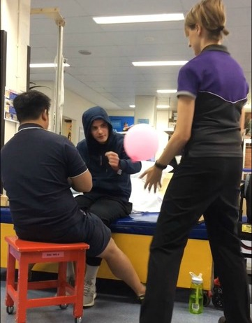 Catching and balancing tasks with the physios