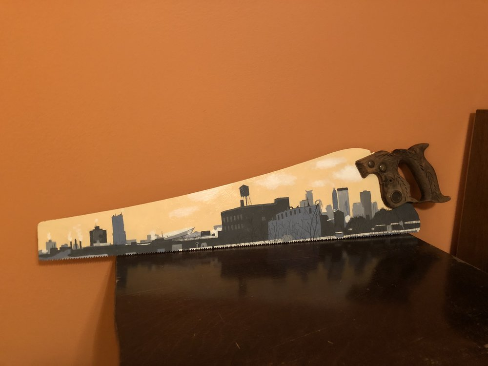 Not the best photo but I had to share this new work I purchased today: A skyline view from Artspace Jackson Flats.  I had the great honor to work on Jackson flats when I was working with the Northeast CDC. See what I mean about artwork speaking to me? It just happens!  P.S. yes - my office walls are pumpkin orange.