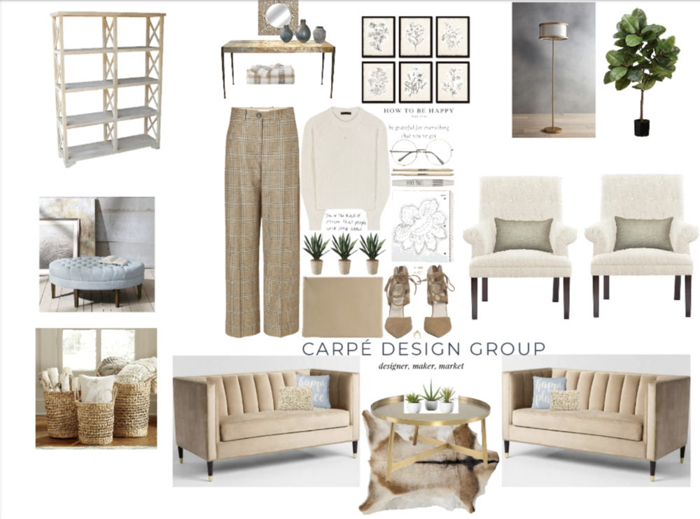monotone room design   Notice all the texture going on even though the colors stay monotone in this mood board. There is a slight pop of color. A very soft blue. The accent color was chosen because the trousers in the inspiration outfit. You can choose a different color to accent with or not. Thats the fun part of design. It's all about self expression. Did you notice the classic lines of the clothing are reflected in the furnishings?