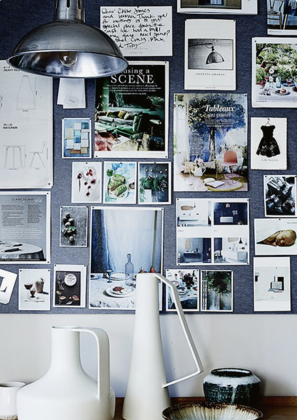 CREATE A MOOD BOARD   photo cred design4space.com via pinterest  Now that your space is all organized and uncluttered. You can start to look around and see where you want to make changes. Start with a mood board. Either on Pinterest or using magazine cutouts tacked on to a cork board. I actually have both. I get inspired by seeing my home decor goals daily. It reminds me of projects I want to do and helps me visualize them.
