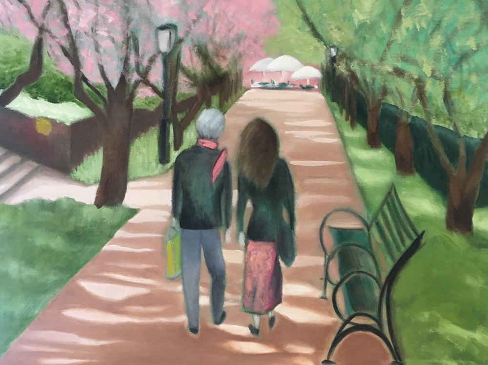 """Mother And Daughter On Garden Path"" 