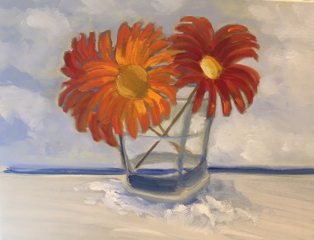 """Sand Foam Flower Glass"" 
