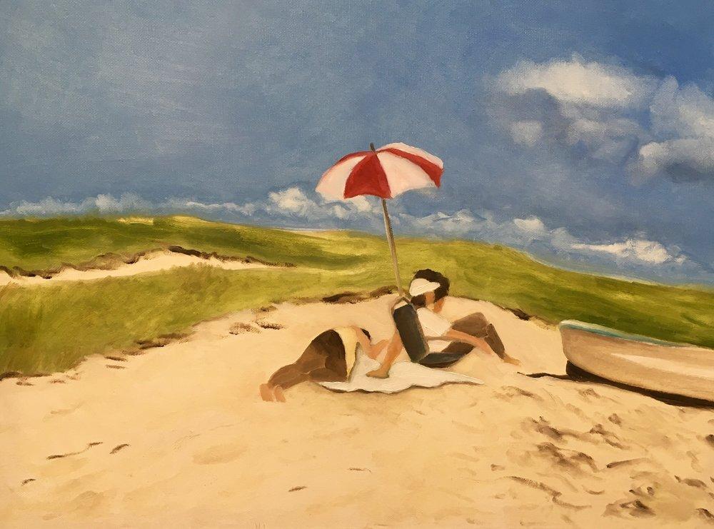 """Red White Beach Umbrella"" | Oil On Canvas | 18x24"