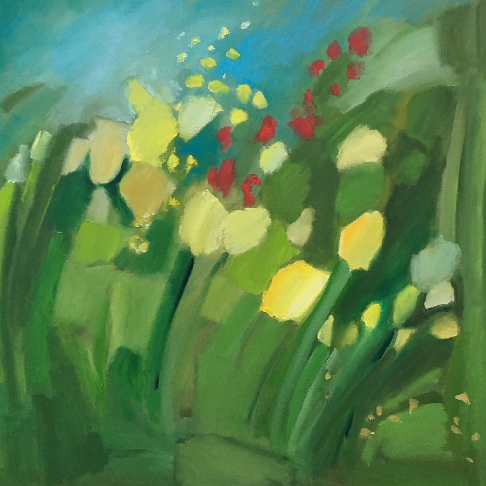 """Yellow Red Flowers in Green"" 