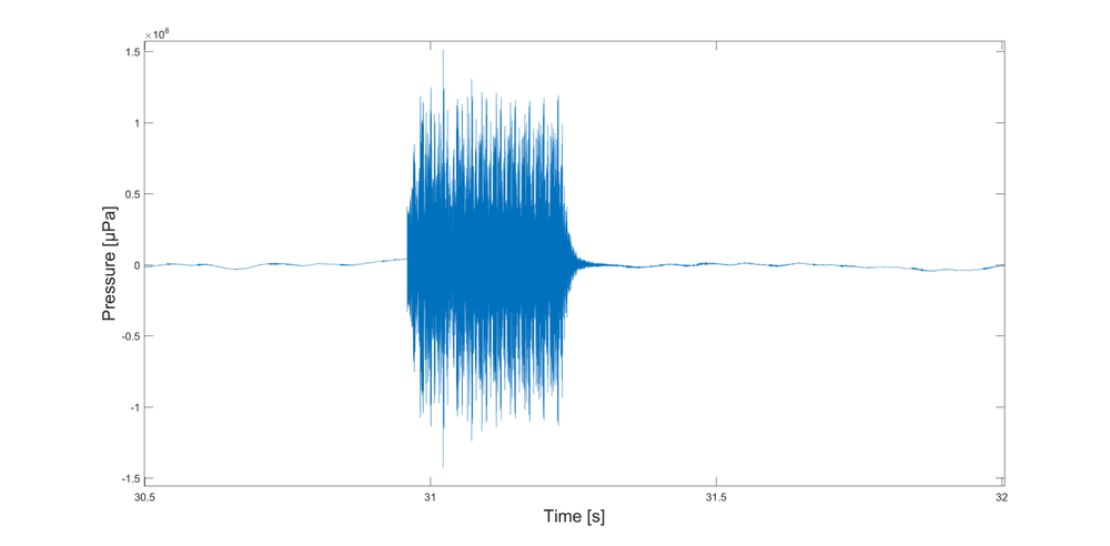 """Close up of hydrophone data of a """"ping"""" transmission"""