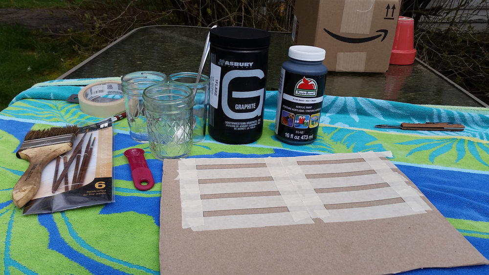 Supplies necessary to make and test paint