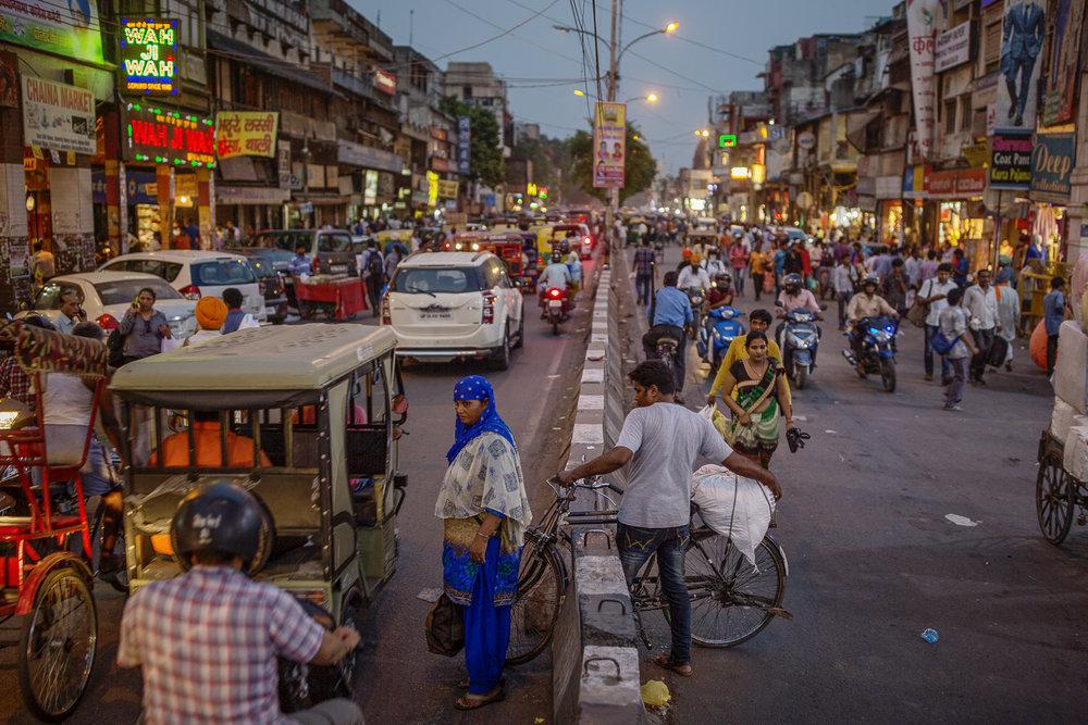 Bustling street, New Delhi/ India