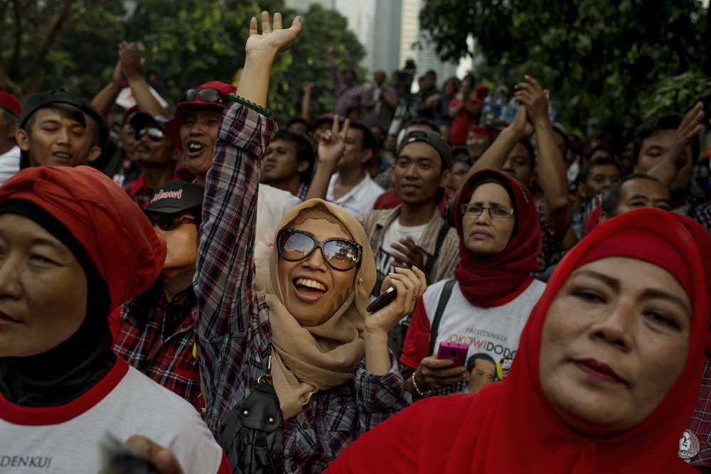 Supporters for the presidential campaign for Joko Widodo, Jakarta / Indonesia - 2014