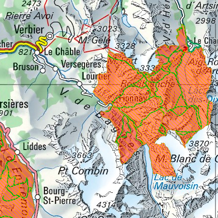 This map is from  Geodata © swisstopo . The areas marked in orange are the protected wildlife reserves as of January 2019.