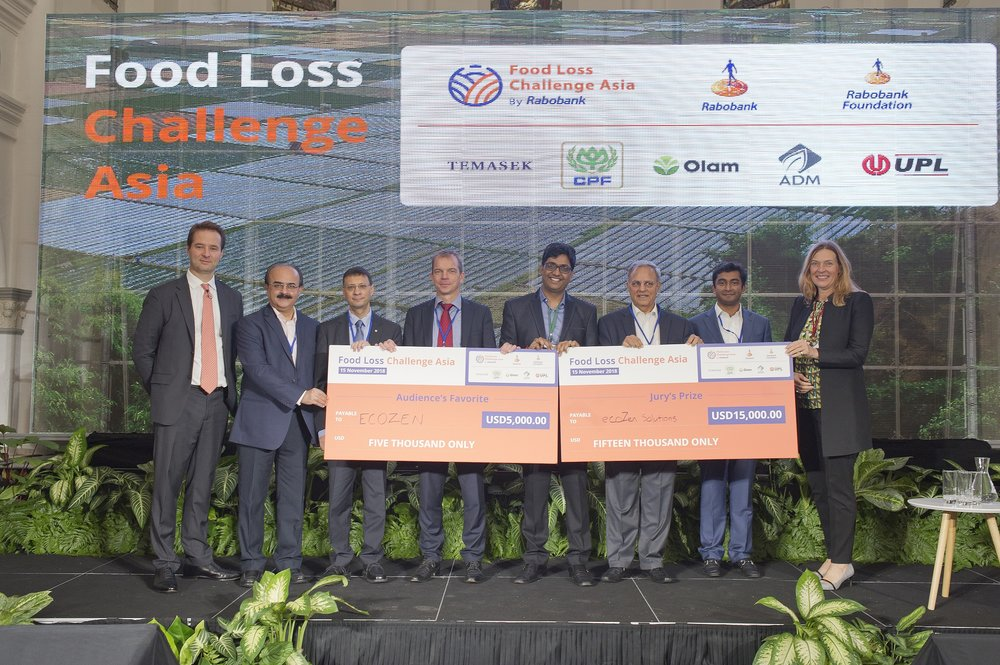 (From left) Mark van Binsbergen of Rabobank, Amit Khirbat of Olam, Sid Jain of ADM Asia Pacific, Albert Boogaard of Rabobank Foundation, Prateek Singhal, Co-founder and COO of Ecozen Solutions, Sagar Kaushik of UPL Ltd, Anuj Maheshwari of Temasek and Diane Boogaard of Rabobank. Missing from the photo : Prasit Chalongchaichan of CP Group.