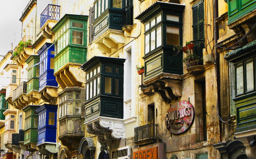 Maltese balcony in Valletta Streets.