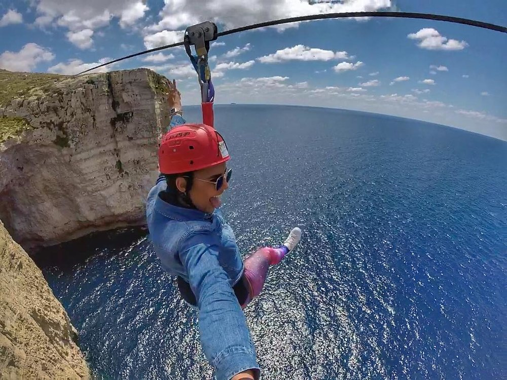 Zip lining over dingli cliffs.