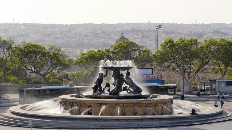 Triton fountain before its restoration works.