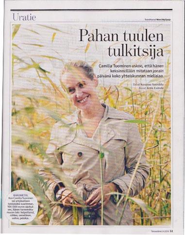 """First ever magazine article: Talouselämä: """"Pahan tuulen tulkitsija"""", 3.10.2014"""