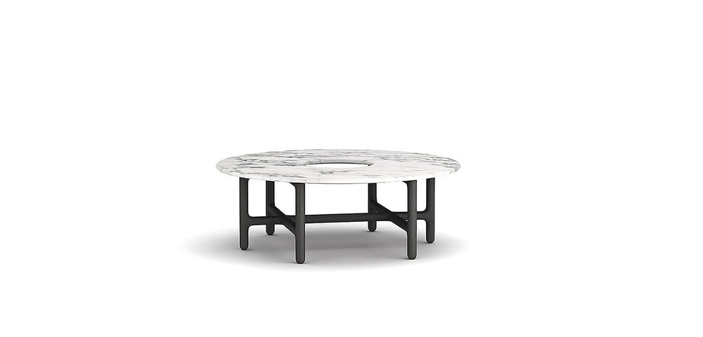 SUSON COFFEE TABLE BRAND:  LIANG CHEN  WEB:   www.roling.cn  It shows the oriental aesthetic concept with the shape of round desktop and square legs. A forest of crisscross legs under the table support the marble desktop just creates a sense of natural philosophy.