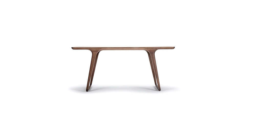 EVERLOOK TABLE BRAND:  ACF HOME  WEB:   www.acf-design.com  Everlook Table is made of walnut, the special arc outline of its base has an oriental sense of beauty. The change of different arc lines is perfectly hidden and fit in with simple and symmetric aesthetics.