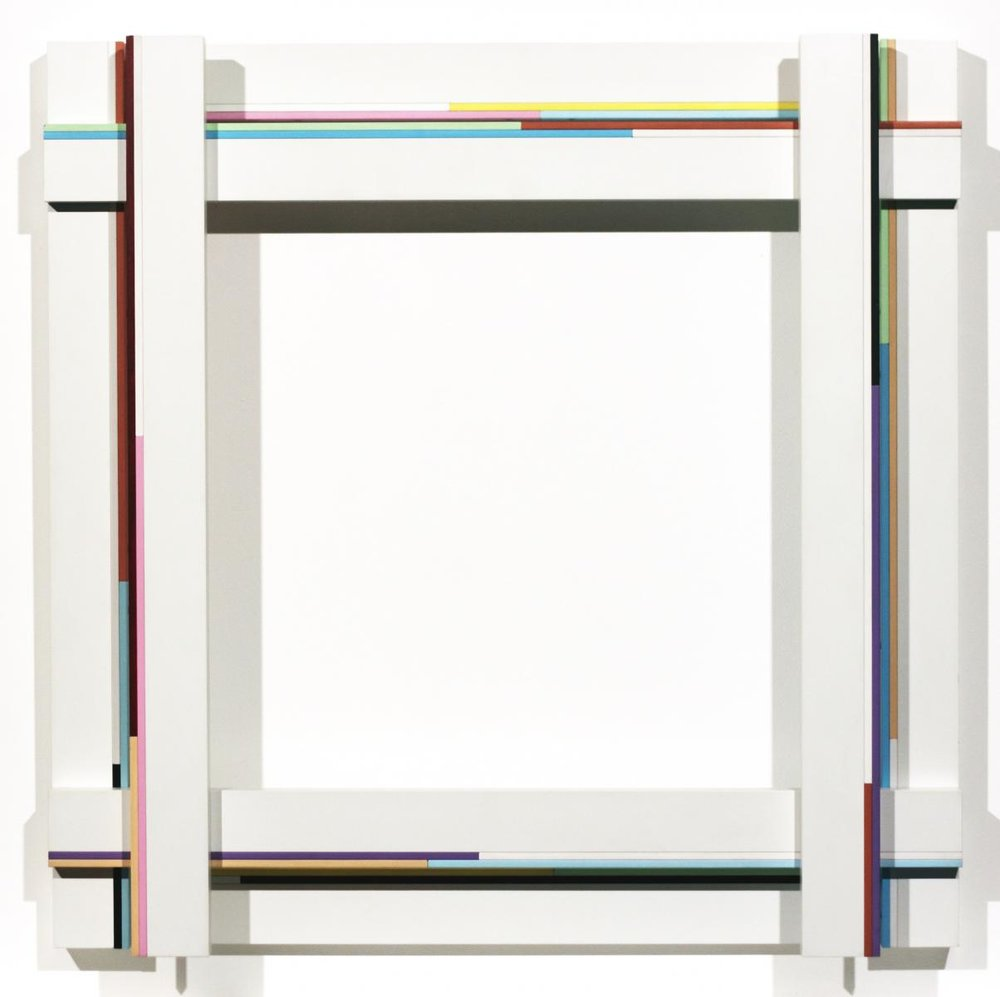 Marc Vaux,  SQ 15 , 1988, Cellulose and acrylic on aluminum and wood, 75x72x10 cms (29 1/2 x 29 1/2 x 4 ins)