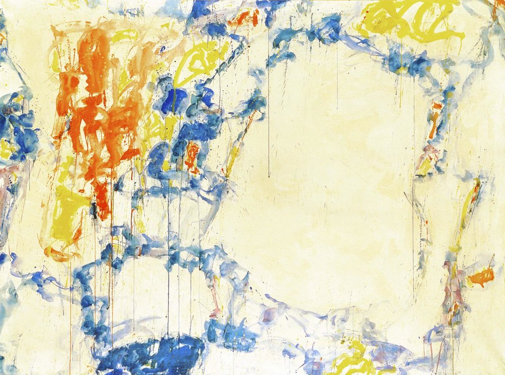 Sam Francis,  Untitled (SF58-247),  1958, Gouache on paper laid down on canvas, 151.1 x 202.6 cms (59 1/2 x 79 3/4 ins).