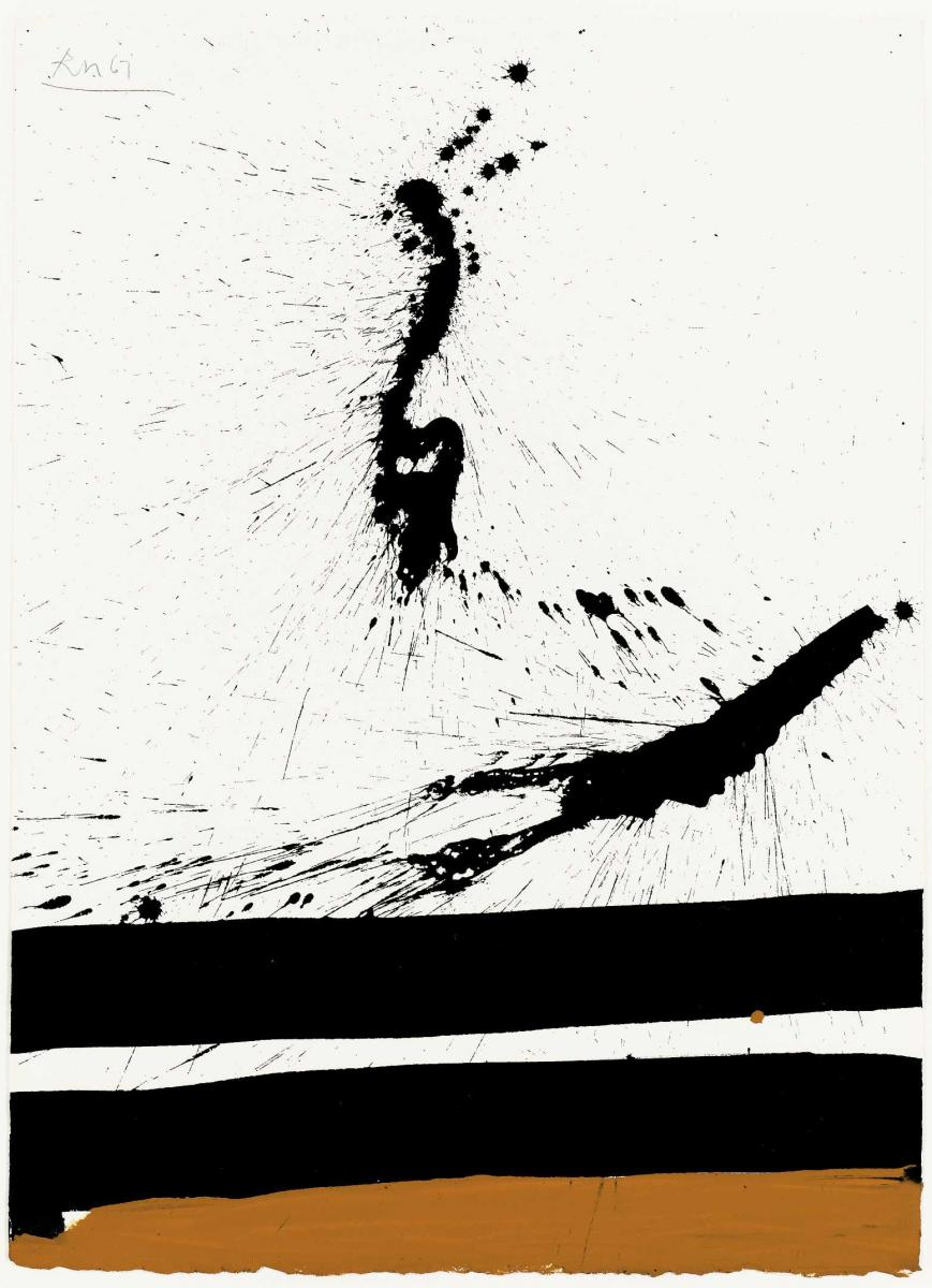Robert Motherwell,  Beside the Sea No. 45,  1967, Acrylic and ink on paper, 76.8 x 55.2 cms (30 1/4 x 21 3/4 ins)