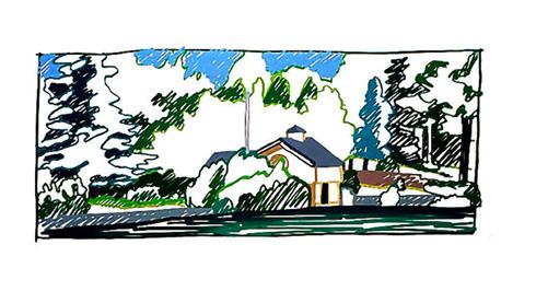 Boathouse with Flagpole 116.6 x 271.8 cm (45 x 107 ins)