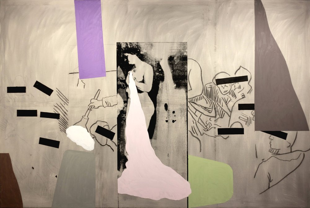Bruce Mclean,  the blind leading the blind , 2013, Oil, arcrylic and charcoal on canvas, 244 x 365.5 cms (96 x 144 ins)