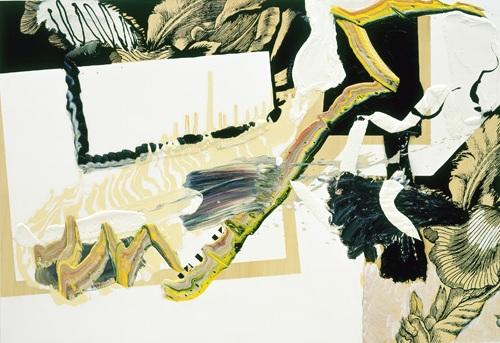 Tisch 1, 2005 Oil and silkscreen on wood 100 x 145 cms 39 3/8 x 57 1/8 ins