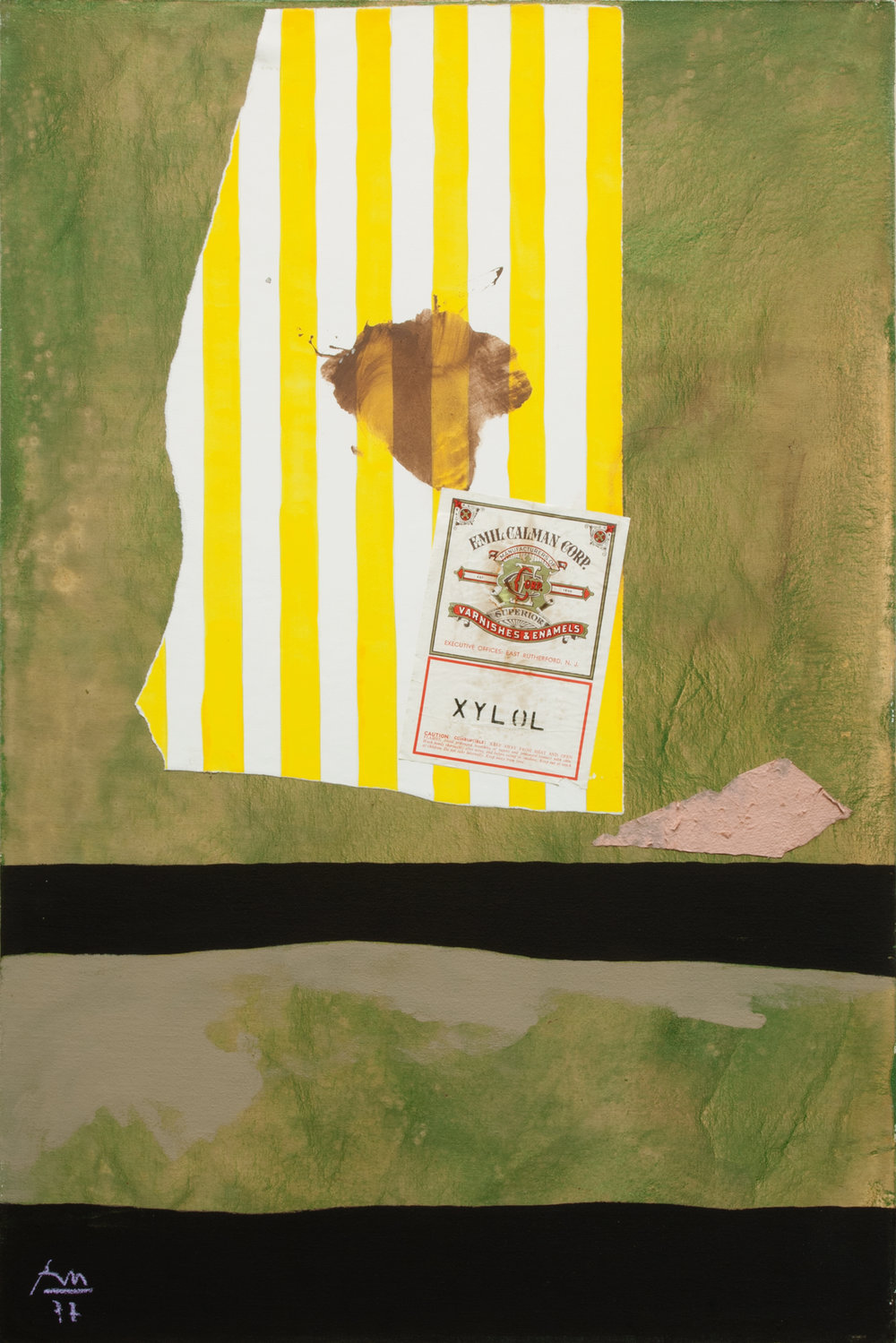 robetn motherwell, Xylol, 1977, Acrylic and pasted papers and graphite on canvas mounted on board, 88.9 x 58.42 cms