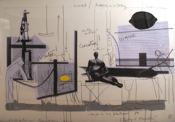 Study for Minestrone No. 8, 2011, Pencil, acrylic and collage on paper, 40 x 60 ins
