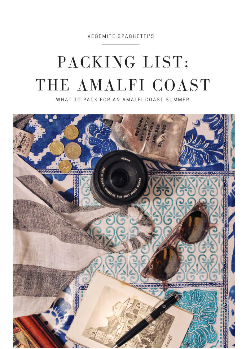 What to pack for the Amalfi Coast; Packing list Amalfi Coast.