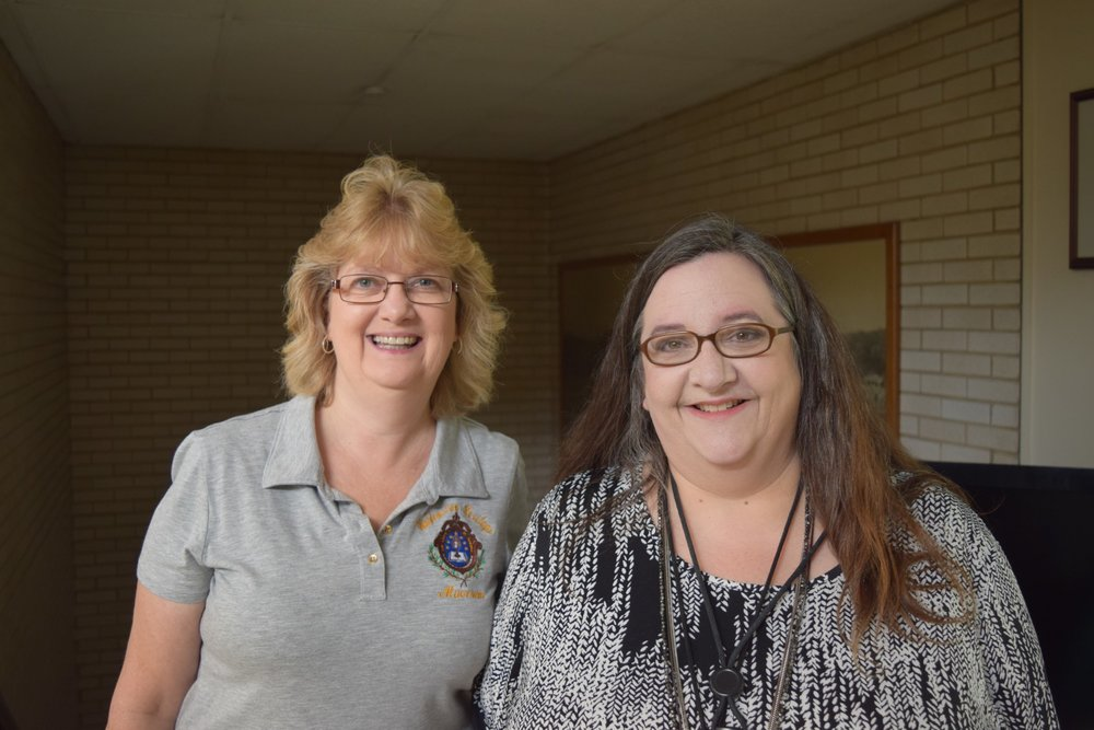 Gretchen Lane Costner, left, and Laurie Johnston, right