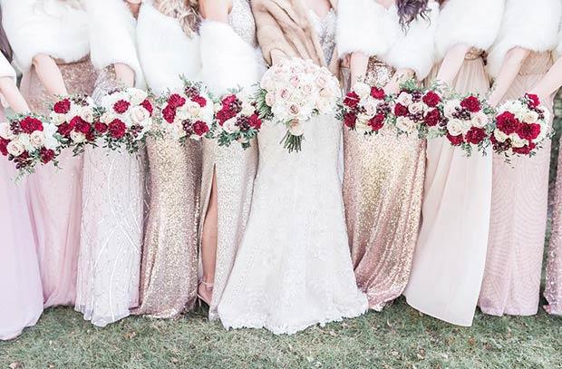 pink sequin dresses + white fur shaws - Source: @jmcburneyphotography