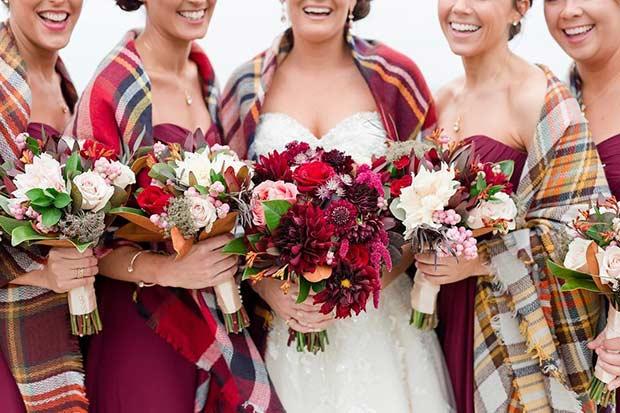 burgundy + plaid blanket scarves - Source: @weddingshoppeinc