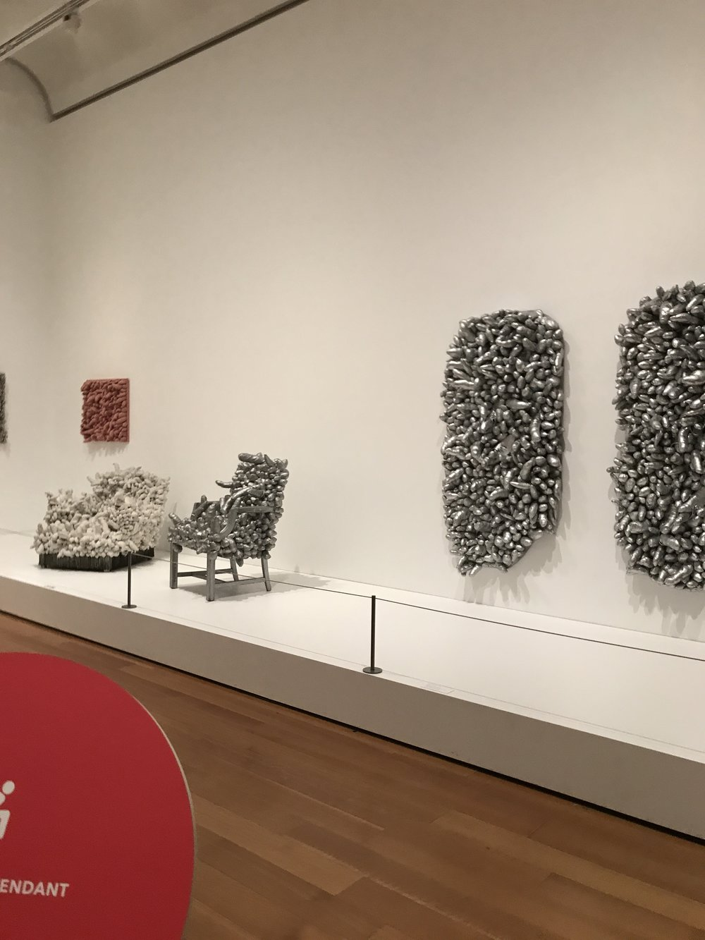 The penis shape covered chairs and canvases.