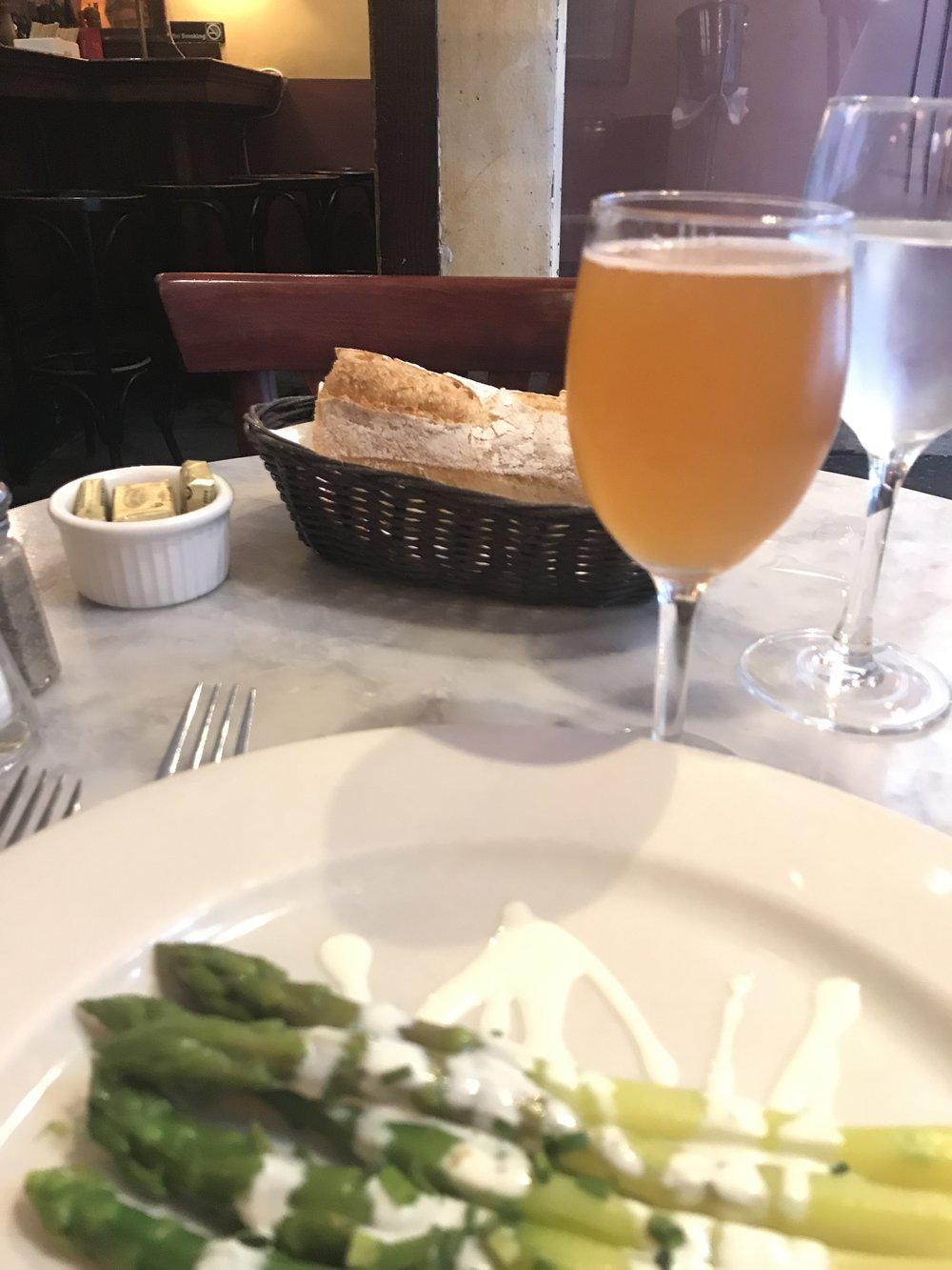 Asparagus vinaigrette and cidre.