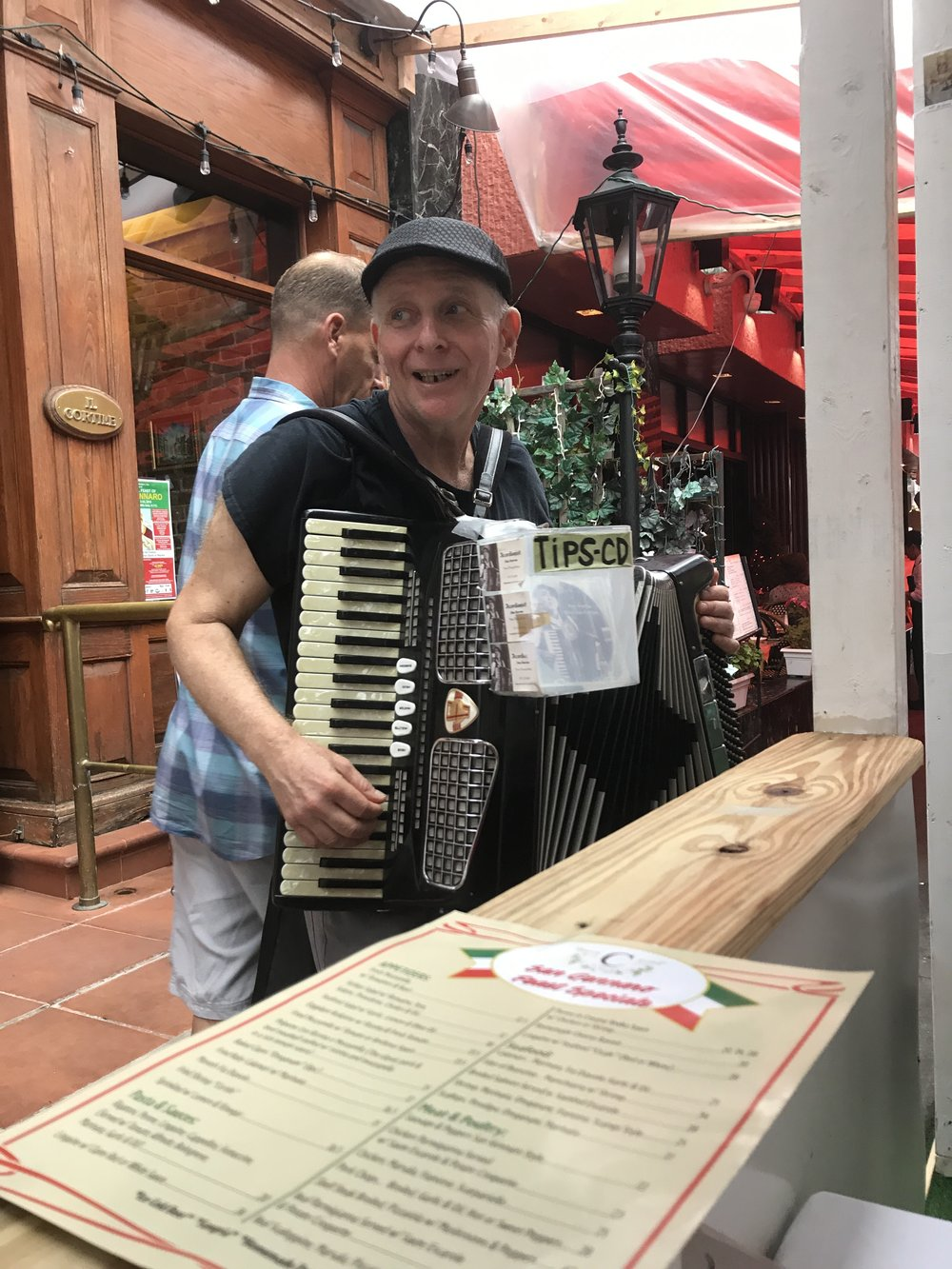 Serenaded by accordion