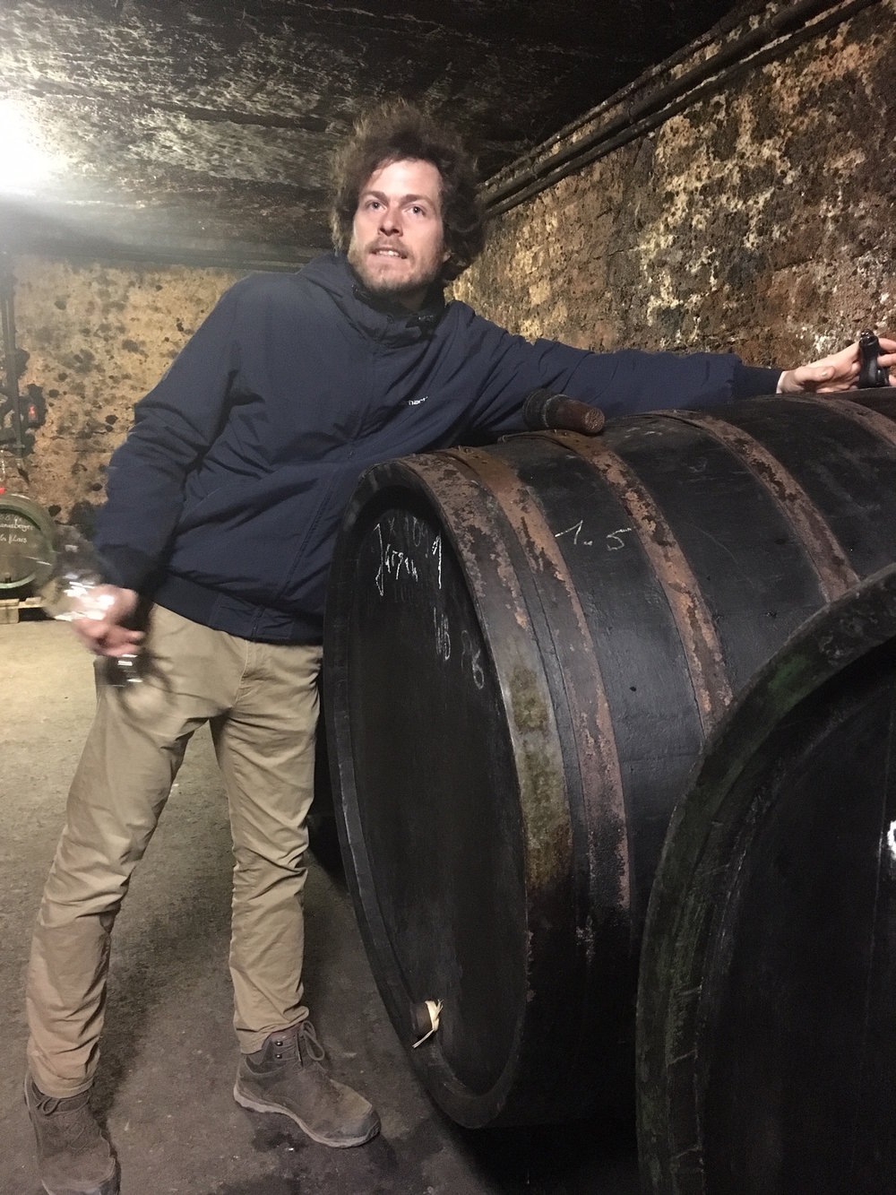 Johannes Weber in the barrel cellar.