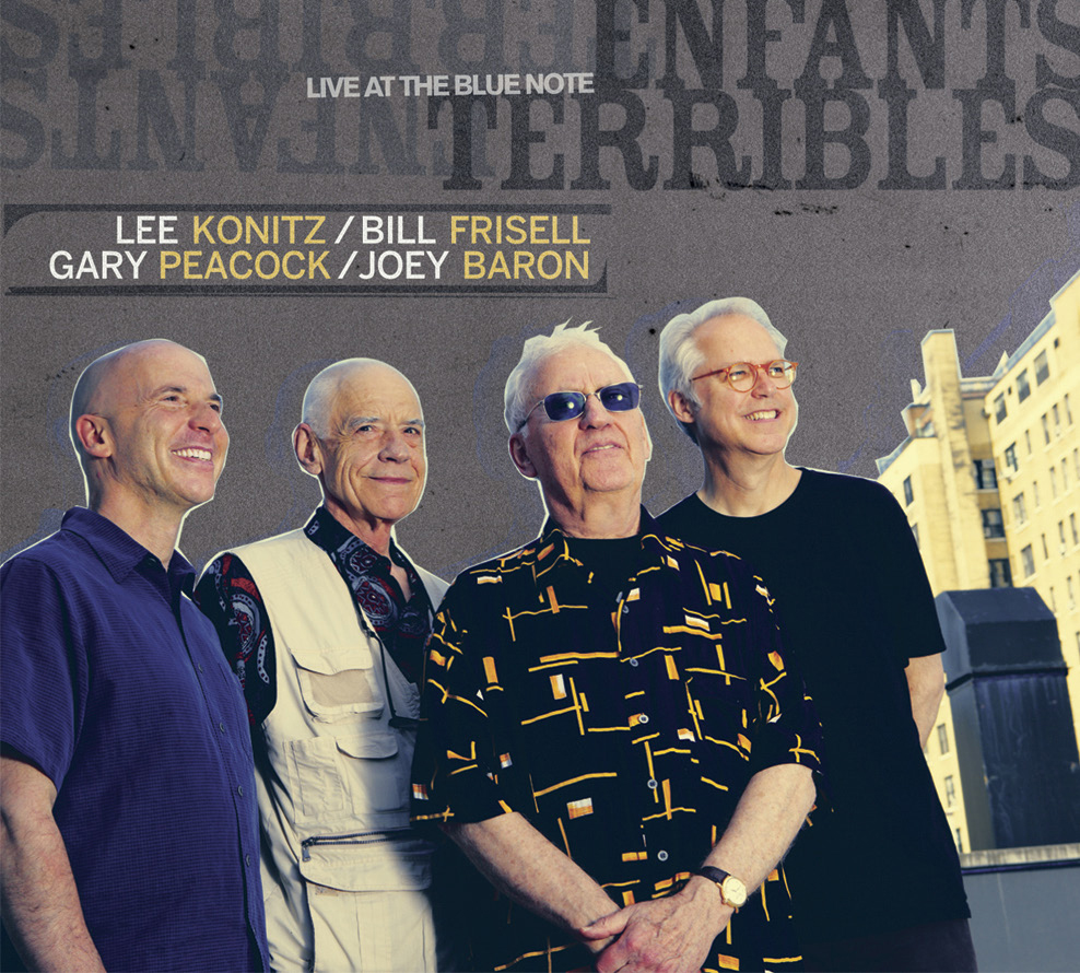 "Lee Konitz, Bill Frisell, Gary Peacock, Joey Baron | Enfants Terribles - ENFANTS TERRIBLES features four veteran jazzmen whose collective efforts on stage and in the studio span decades. Together they are saxophonist Lee Konitz, guitarist Bill Frisell, bassist Gary Peacock and drummer Joey Baron; individually, each boasts a distinguished career path and network of associations representing jazz's wide range of stylistic directions. (Konitz alone began professionally in 1945.)Recorded live at the Blue Note, ENFANTS TERRIBLES finds the group surveying tunes well-known to the jazz community, standards played and re-imagined throughout the years - ""Body & Soul,"" ""I Can't Get Started,"" ""What Is This Thing Called Love"" and ""Stella By Starlight,"" among others. Though the repertoire is familiar, the renderings are new, a function of the collaborative spirit and interplay among these particular musicians. Their union evinces a strong sense of togetherness - the sum effect of a four-way exchange shaping artful creation."