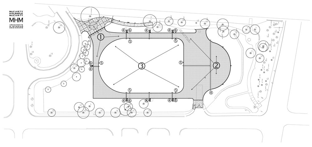 Layout Plan — The above plan shows the completed lawn design flagging the improvements numbered above.