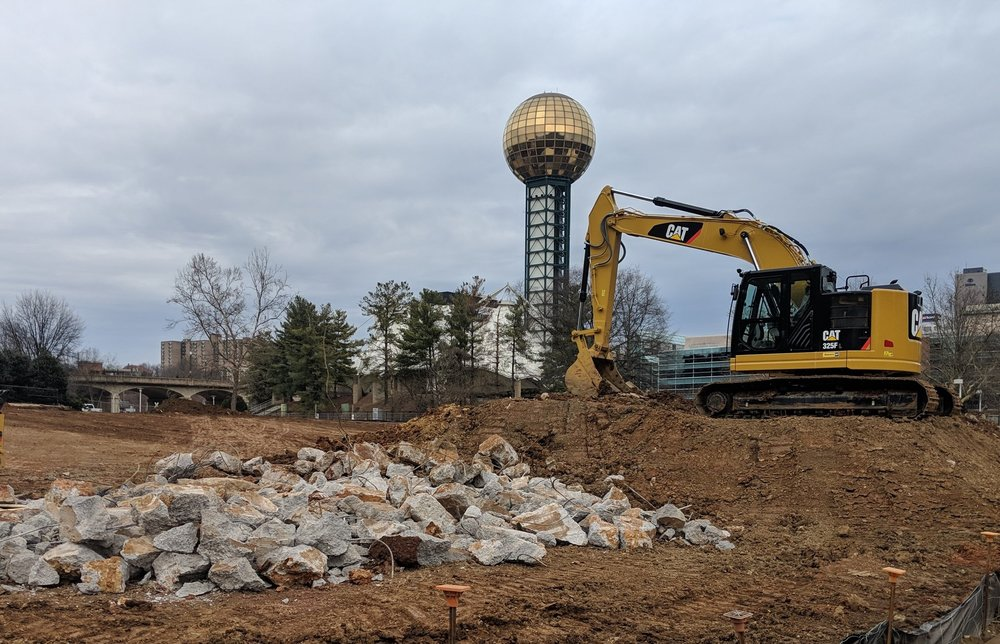 Concrete foundations from former site structures are removed.