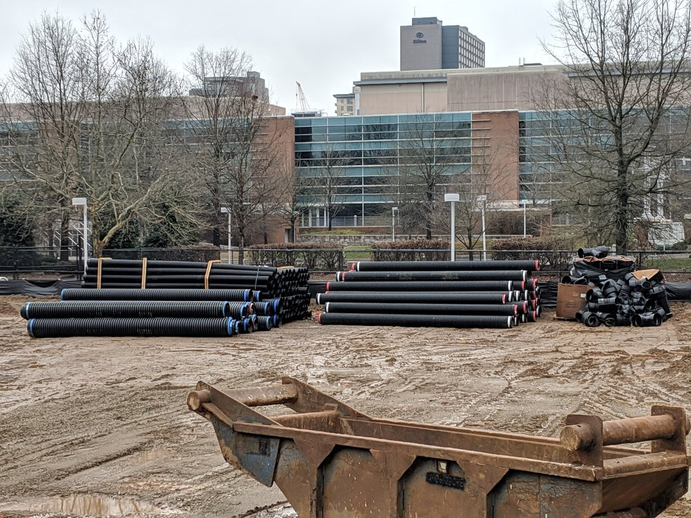 Two truckloads of drainage pipe for the lawn's sub-surface drainage system have been delivered.