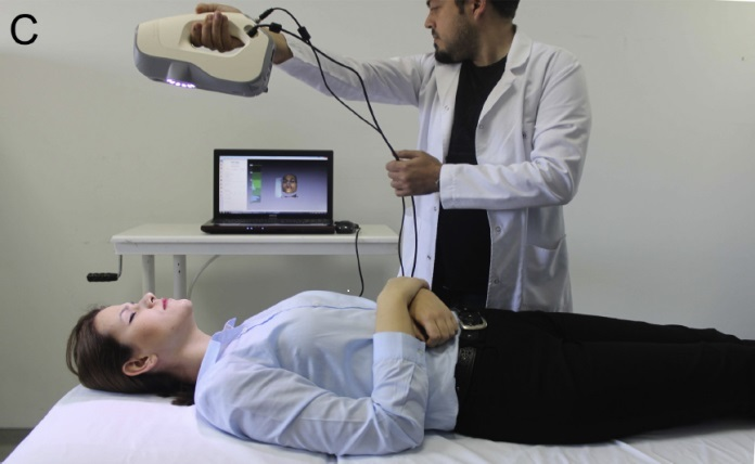 A patient undergoes a 3D scan to assist in making accurate surgical guides (   Source   ).