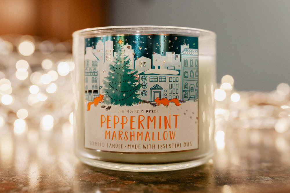 Peppermint Marshmallow - DELICIOUS. If you don't like candles that smell really sugary, then I wouldn't recommend this to you. BUT, If you like your candles to smell like grandma is baking some scrumptious s'more cookies in the oven while also brewing peppermint tea and making you eat a candy cane, you've found yourself candle match. Congratulations.