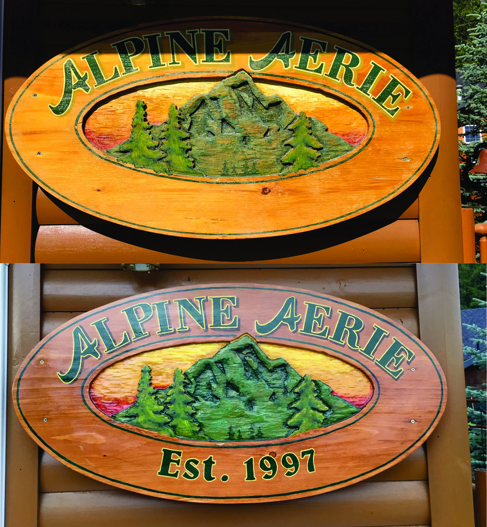 Before & after picture of a sign we refinished.