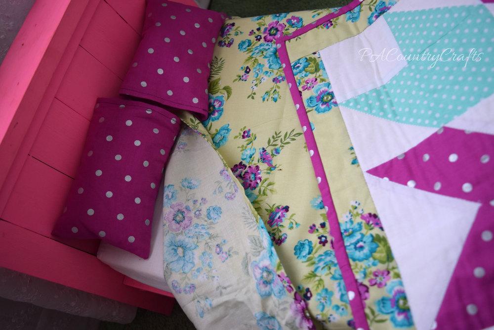 DIY doll bedding- mattress, sheet, quilt, and pillows