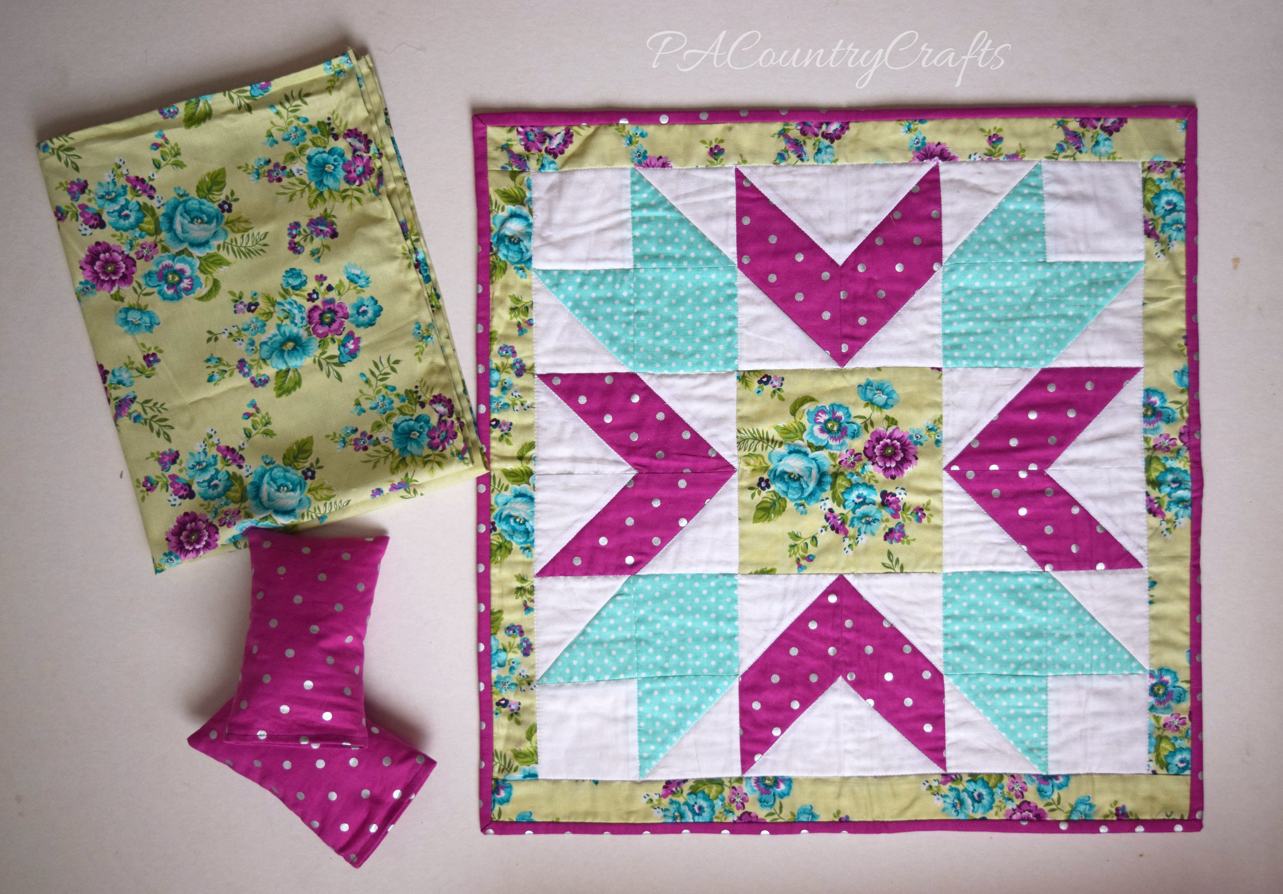 "Pretty 18"" doll bedding and quilt with free pattern"