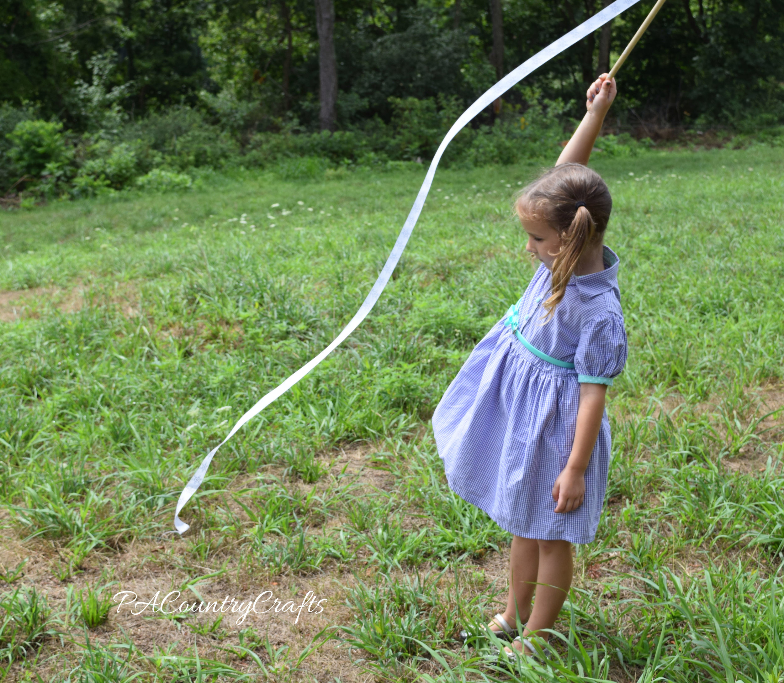 Simple ribbon wands for little girls to play with